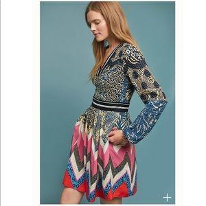 Anthropologie Maeve Long Sleeve Chevron Dress 0p
